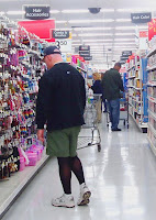 Steve shopping at Wal-Mart, black opaque tights