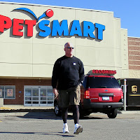 Steve in black opaque tights at PetSmart
