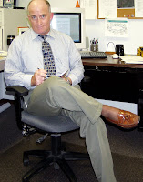 Steve, opting for the more noticable 'tan' ActivSkin legwear at the office