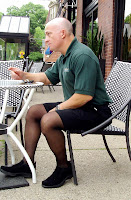 Steve Newman of ActivSkin at outdoor cafe in Columbus' Short North (Style A577 legwear/sheer black)