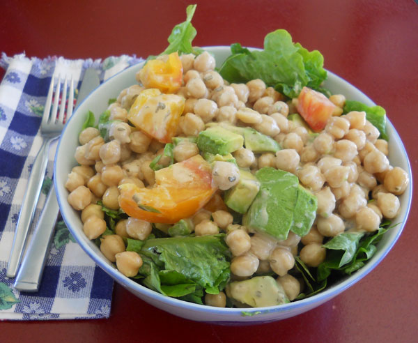 Chickpea Salad with Heirloom Cherry Tomatoes, Corn and Black Beans