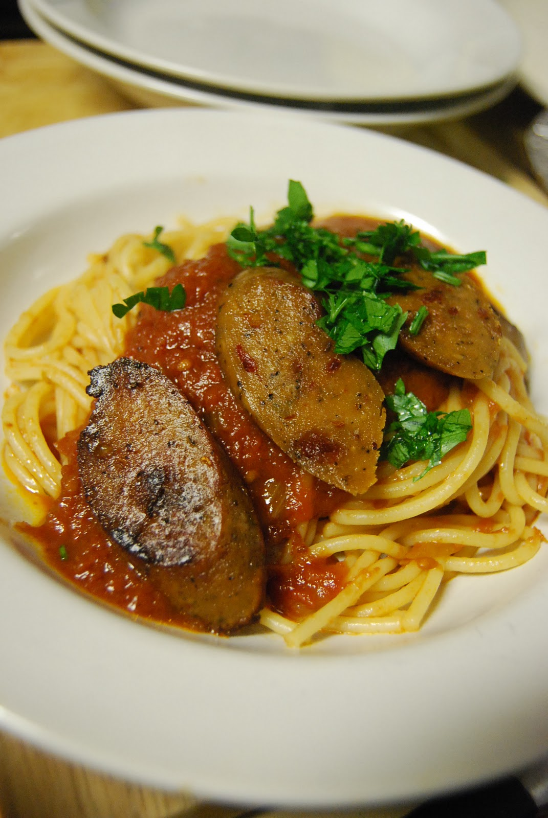 Kirsten's Kitchen: of vegan creations: Italian Sausage Spaghetti