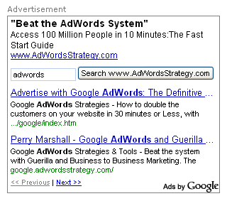 AdSense Interactive Ad Search Box