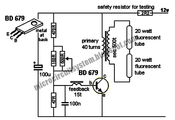 12v 6-12 watt fluorescent tube  neon  lamp inverter circuit