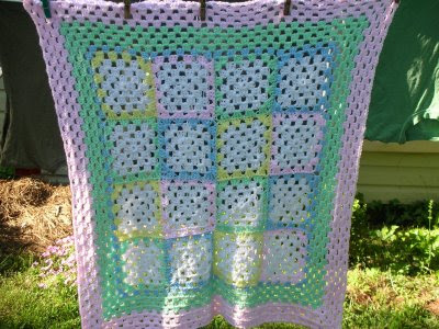 Cotton Twirl Squares Baby Blanket - free knit baby blanket