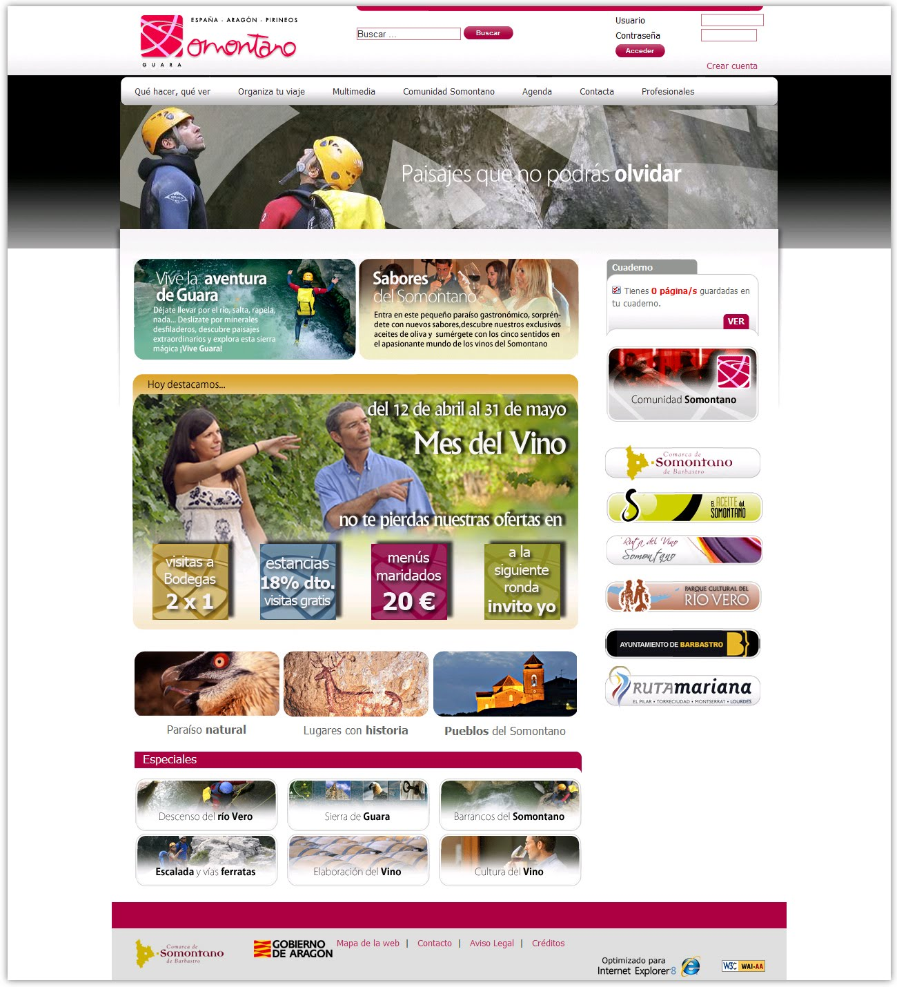 Neonautas el turismo del somontano estrena p gina web for Paginas web sobre turismo