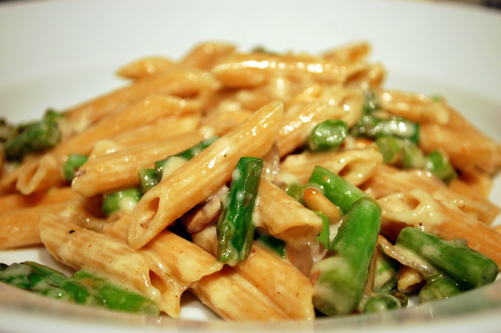 and grape tomato pasta with a goat cheese sauce asparagus and walnut ...