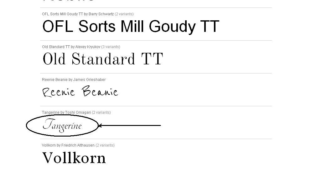 google font  name