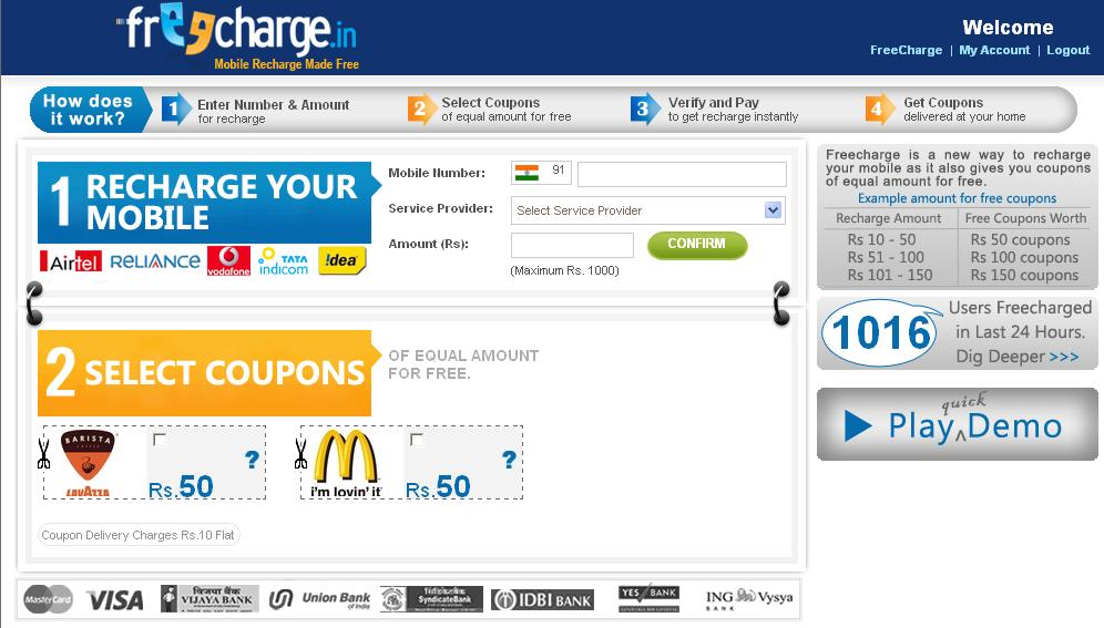 Mobile Recharge Coupons Freecharge recharge coupons today have made life easier and have taken off the hassle of settling bills by visiting the physical stores. By blending or rather adding the recharge portal into the World Wide Web was a ground breaking innovation that makes complete sense for people that are active on social media, such as.