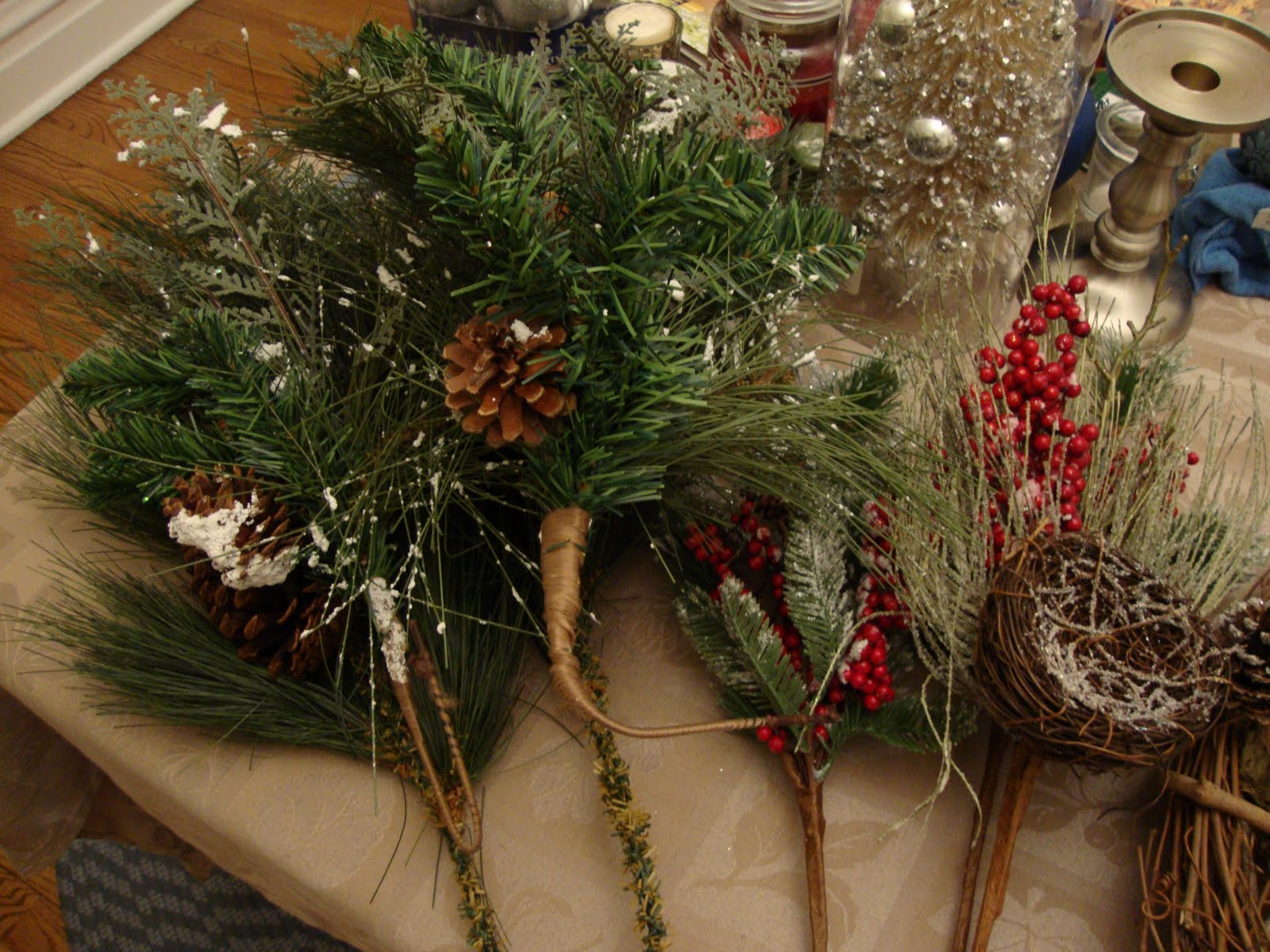 i placed several different picks on the wreath at different angles and decided to keep it simple with these 2 picks pretty green pine boughs with some - Hobby Lobby Christmas Wreaths