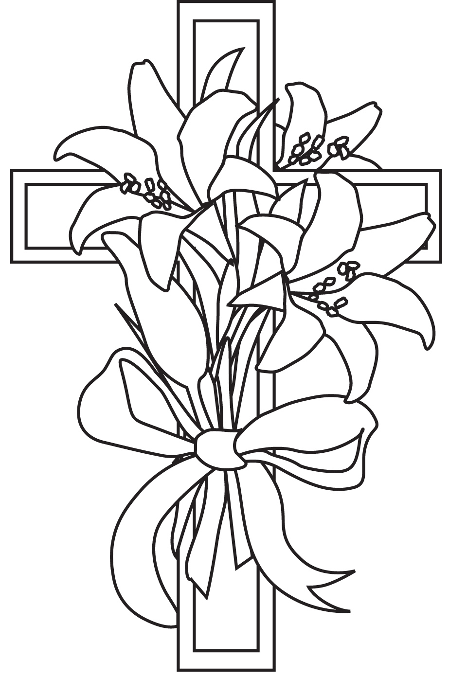Lily And Cross Easter Coloring