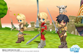 "Luna online is a MMORPG where Elfs and Humans must bond together to fight the evil that invades their Blue land. Game characters are super cute style, with very manga-like (cartoon-like) facial expression. The game also provides the unique ""Friendship system"" and ""Family system"", and it has a very convenient trading, dating, family and community system for everyone. You can also build up your farm, plant, business, train and feed your own lovely mounts and pets."