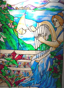 Cathy lynch paintings design flowers in stained glass Mural glass painting