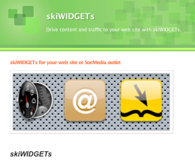 skiWIDGETs designed to build traffic for your web site and/or SocMedia efforts
