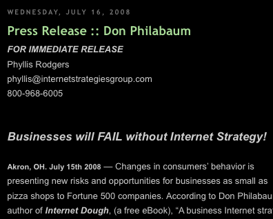 Press Release on eBook Internet Dough