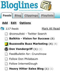 bloglines feeds menu