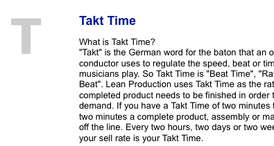 Takt Time calculations