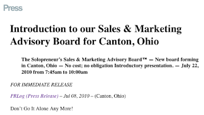 Sales and Marketing Advisory Board forming in Canton, Ohio