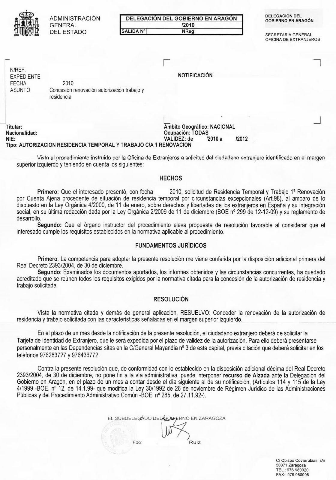 impreso autorizacion trabajo residencia: