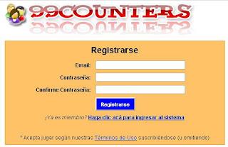 formulario de registración en 99counters
