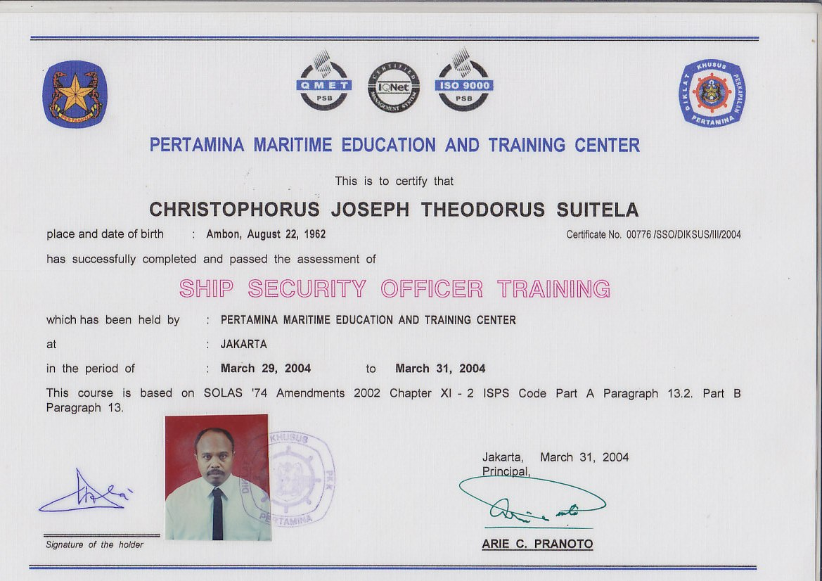Cv chris suitela ship security officer ship security officer yadclub Images