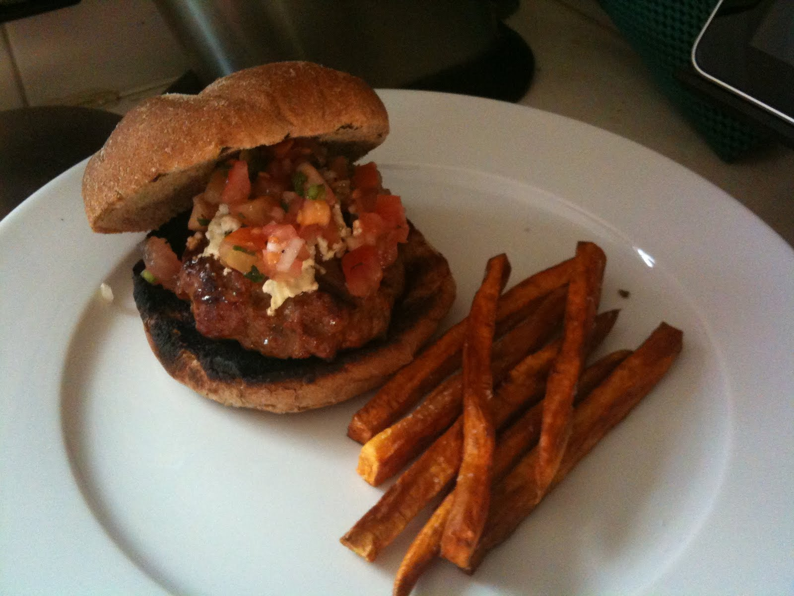 "... Mango ""Yolk"", Lamb Burgers with Tomato-Mint Salsa and Feta Cheese"