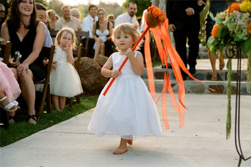 give the flower girl a ribbon wand i read about a wedding recently where the bride gave ribbon wands to all the children in attendance and invited them to