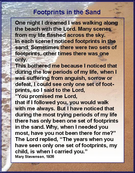 Original Footprints In The Sand Poem Mary Stevenson Share My Journe...