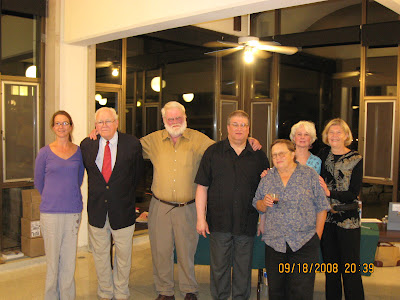 L to R: Laura McLean, Malcolm McLean, Bill Holm, Jim Perlman, Judith Niemi, Mara Hart, and Cynthia Loveland