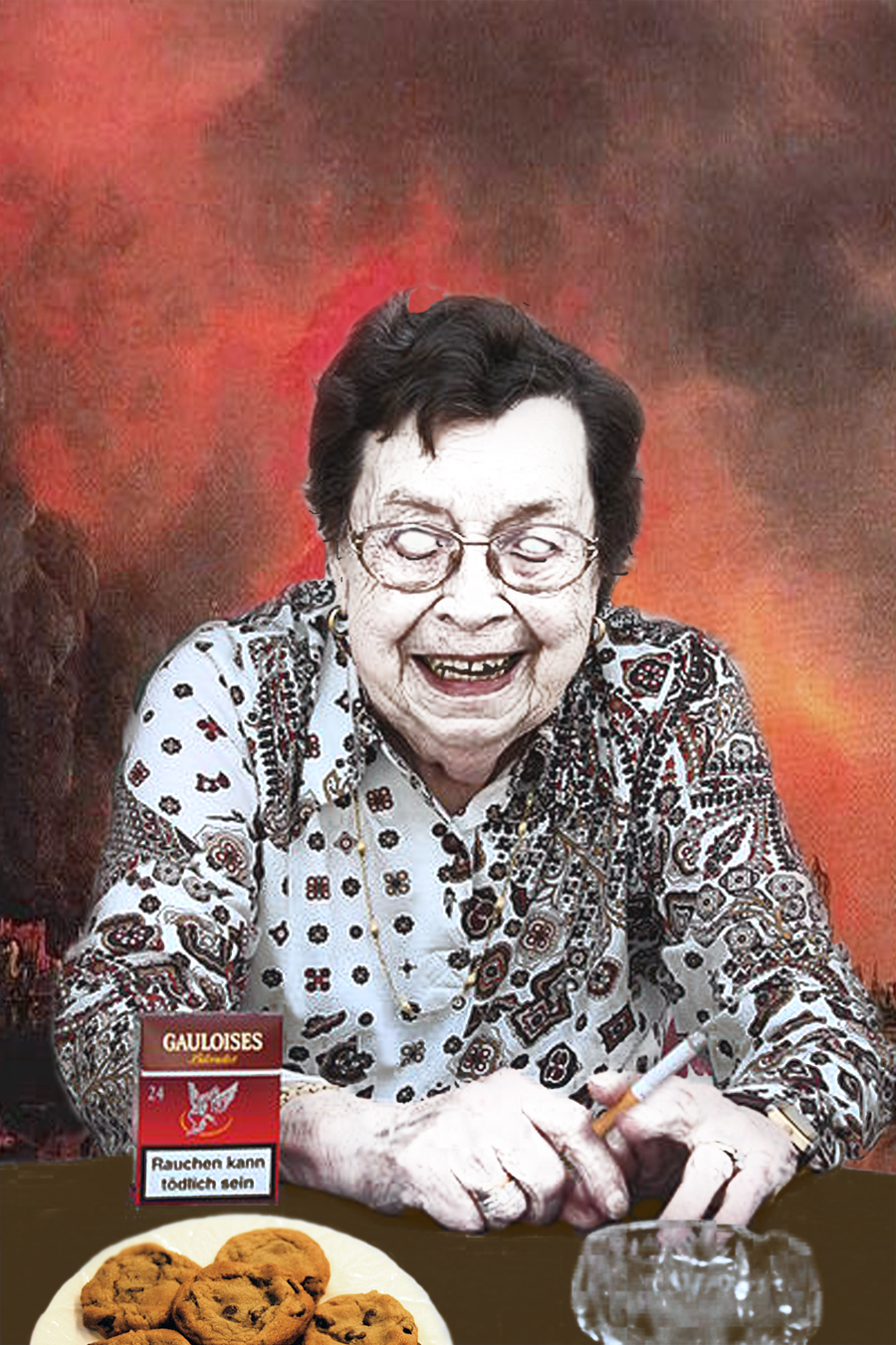 zombie grandmother brings cookies, smokes cigarette