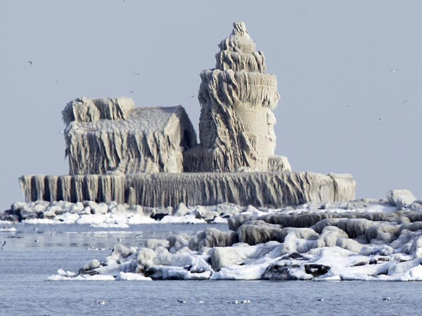 a lighthouse in ohio covered in ice