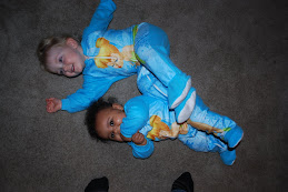 Alivia and Tysa in matching Tinkerbell jammies on Christmas Eve
