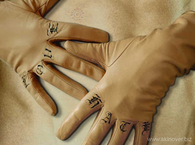 Tattooed leather Love-Hate Gloves by Sylvia B.