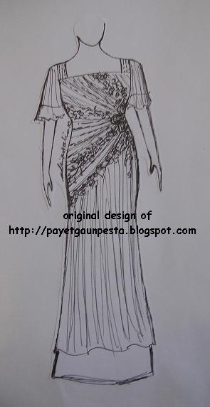 Sketsa Gambar Gaun Pesta