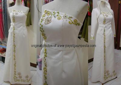 Model Gaun Akad Nikah Muslim Modern dengan Bolero Dracu