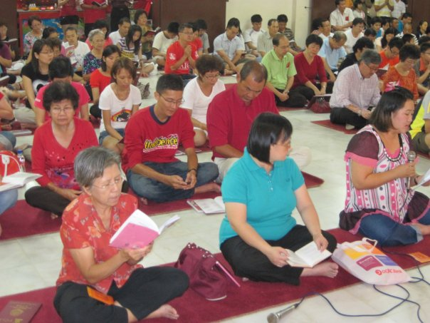 Devotees in the main shrine hall