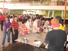 View of devotees taking their food for breakfast