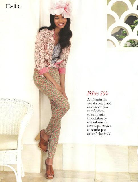 model chanel iman vogue italia spring trends mix prints shoe skirt bag leopard polka dot