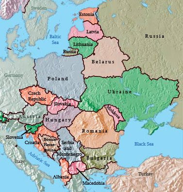 aggression in europe map. map of eastern europe.