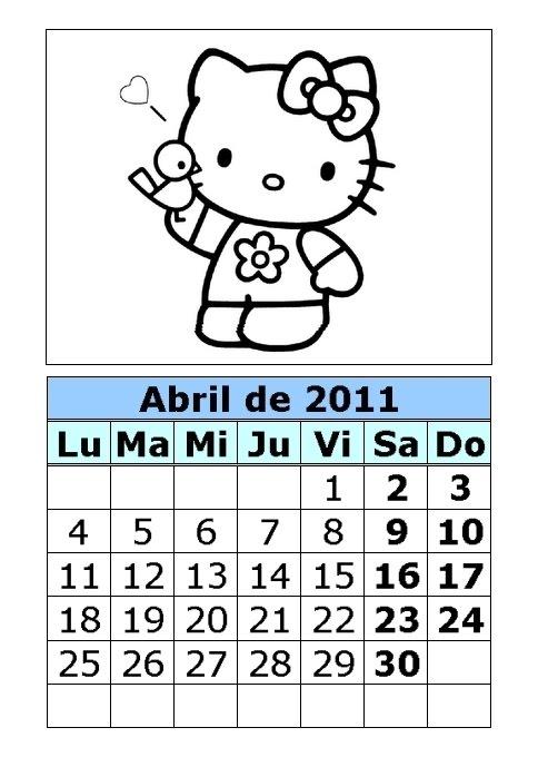 Calendario de Hello Kitty para colorear de 2011 (2ª parte ...