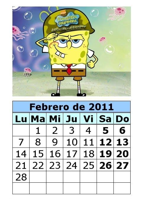 Calendario de Bob Esponja de 2011 (1ª parte)