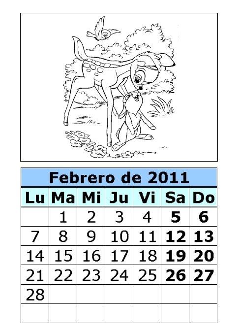 Calendario de Bambi para colorear de 2011 (1ª parte)