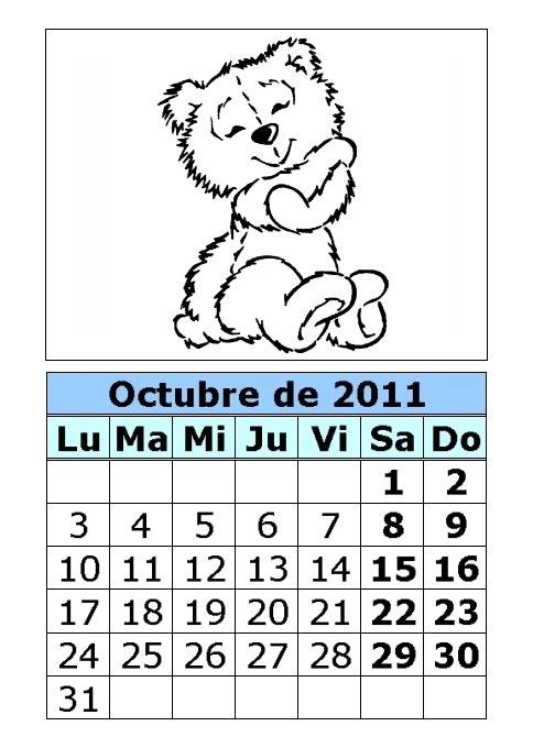 Calendario de ositos para colorear de 2011 (4ª parte) : Calendarios ...