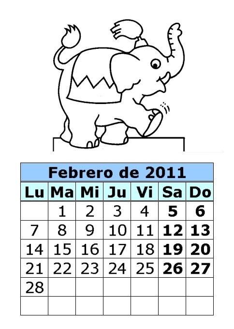 Calendario de dibujos para colorear de 2011 (1ª parte)
