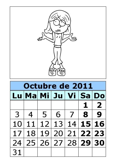 calendario 2011 para imprimir. Calendario de Lizzie para