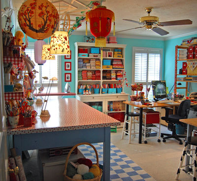 I WISH I Had A Room Of This Size  And The Ability To Paint In Fun Colors  Like Jenny From All Sorts! This Craft Room Is Utterly Amazing, And The  Colors ...