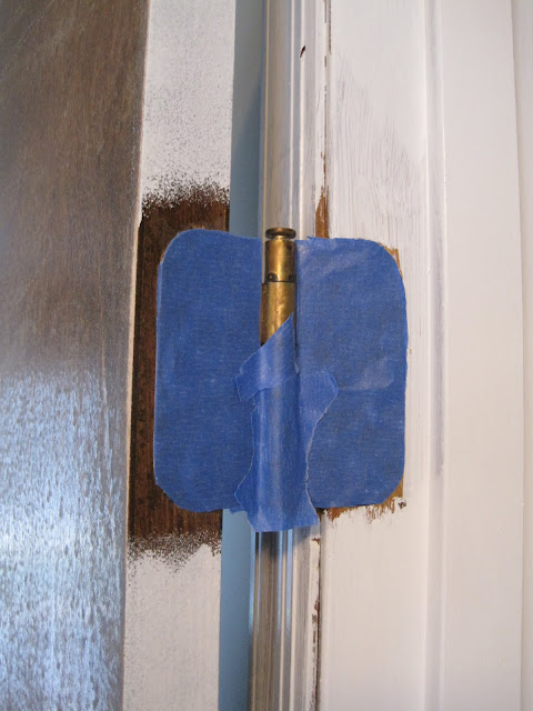 trim excess tape from door hinge