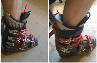 The picture on the left shows too much room in the boot on the forward side, which often translates into an unbalanced skier that is in the 'back seat.' The picture on the left shows too much room in the back side of the boot, meaning that the skier will be too far forward to have an effective, balanced stance.
