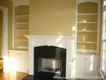 built in bookcase fireplace plans