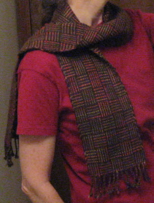 Log cabin scarf in brown & autumn colors.